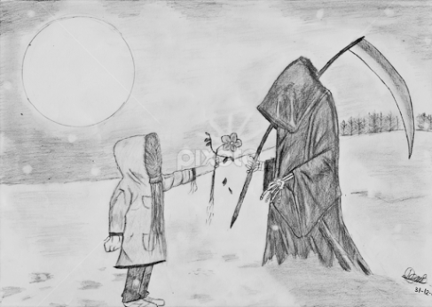 A picture of a young person handing the 'grim reeper' a flower. This is an image of when life and death meet.