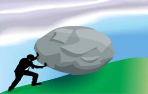 Difficulty - Man pushing a rock uphill - Blog post 20-Aug-2014